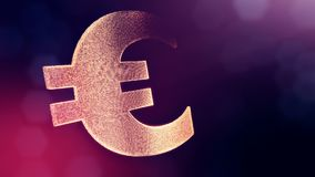 Animation icon or emblem of Euro Logo.. Financial background made of glow particles as vitrtual hologram. Shiny 3D loop. Animation with depth of field, bokeh stock footage