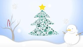 Animation Illustration of Christmas tree ornament icon and white snowing winter landscape with snowman snowflakes falling and hand