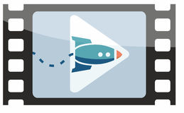 Animation Image with Rocket in Film Frame and Play Symbol Royalty Free Stock Photos