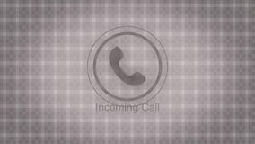 Animation incoming call. Abstract animation of incoming call with black and white phone icon