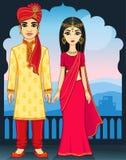 Animation Indian family. Royalty Free Stock Image