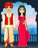 Animation Indian family. Stock Photos