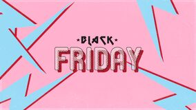Animation intro text Black Friday on retro pink hipster and grunge background with thunderbolt
