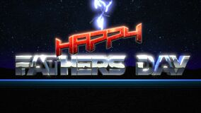 Animation intro text Fathers day and thunderbolt, retro holiday background