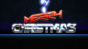 Animation intro text Merry Christmas and thunderbolt, retro holiday background