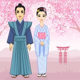 Animation Japanese family in ancient clothes. Stock Image