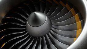 Animation jet engine, close-up view jet engine blades. Front view of a jet engine and blades. Animation of rotating. Blades of the turbojet. Part of the stock video footage