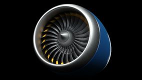 Animation jet engine, close-up view jet engine blades. Jet engine isolated on black background. Animation of rotating. Blades of the turbojet. Part of the vector illustration