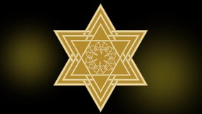 Animation for jewish New Year - Rosh hashanah. Golden David star on dark background, luxurious vintage gold ornament royalty free illustration