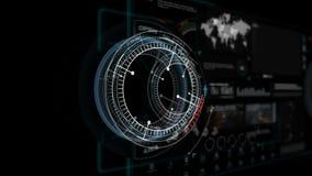 Animation 4K der hohen Anzeigenschnittstelle HUD-Kopfes an mit Ikonendiagramm-Ladenstangenelement für futuristisches Cybertechnol stock footage