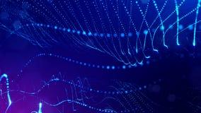 Animation 4k nahtlose 3d als Sciencefictionshintergrund mit Glühenpartikeln und Schärfentiefe, bokeh und Lichteffekte glühen stock abbildung