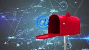 Animation of letterbox with AT sign symbol and data connections royalty free illustration