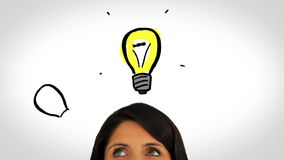 Animation of light bulbs appearing over a womans head stock footage