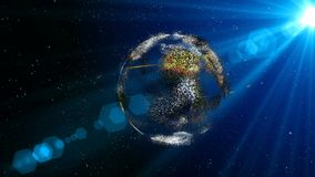 Animation of lines and dots in cyberspace forming the planet earth.  stock footage