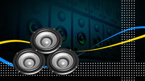 Animation of loudspeakers. Concept of entertainment Royalty Free Stock Photography