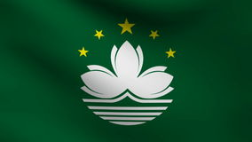 Animation of Macau country flag at wind stock video