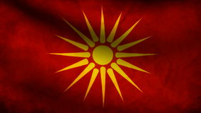 Animation of Macedonia flag at wind stock footage
