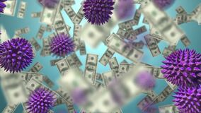 Animation of macro Covid-19 cells and American dollar bills floating.