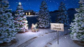 Animation of magic czech winter scene with cottage and christmas tree. 3D render. seamless loop stock video footage