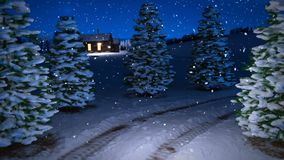 Animation of magic winter snowfall night scene with snowy meadow and cottage. 3D render. seamless loop stock video