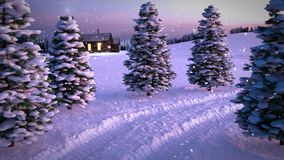 Animation of magic winter snowfall sunset scene with snowy meadow a nd cottage. 3D render. seamless loop stock video