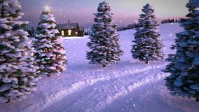 Animation of magic winter sunset scene with cottage and christmas tree. 3D render. seamless loop stock video footage