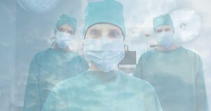 Animation of healthcare workers wearing Covid-19 mask