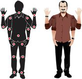 Young man cartoon character in formal shirt, animation ready vector doll with separate joints. Gestures. FOR ANIMATION. man character in shirt, doll with Stock Images