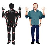 Young man cartoon character in formal blue shirt, animation ready vector doll with separate joints. Gestures. FOR ANIMATION. man character in shirt, doll with Royalty Free Stock Photography