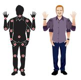 Young man cartoon character in formal blue shirt, animation ready vector doll with separate joints. Gestures. FOR ANIMATION. man character in shirt, doll with Stock Photography