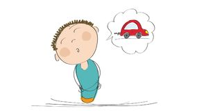 Animation of a man thinking about buying a new car, animated hand drawn cartoon character. stock video footage