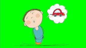 Animation of a man thinking of dreaming about a new car, animated hand drawn cartoon character, on chroma key green screen backg stock video