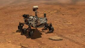 Animation of mars 2020 Perseverance Rover is exploring surface of Mars. Perseverance rover Mission Mars exploration of red planet.
