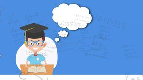Animation of mathematical equations with schoolboy pictogram on blue background