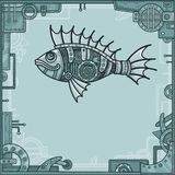 Animation mechanical fish. Background - a frame from metal details, the iron mechanism. Royalty Free Stock Image