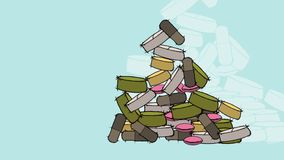 Animation - the medical pills fall and form a pile. Animation - The pills of green, yellow, pink, brown and grey colors fall and form a pile, on the blue royalty free illustration