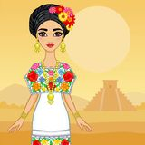 Animation Mexican girl in a festive dress. Vector illustration: Animation Mexican girl in a festive dress. Background landscape pyramid Maya Royalty Free Stock Image