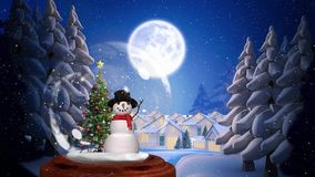 Animation mignonne de Noël de bonhomme de neige et d'arbre illustration libre de droits