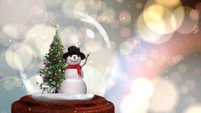 Animation mignonne de Noël de bonhomme de neige et d'arbre de Noël en globe de neige illustration de vecteur
