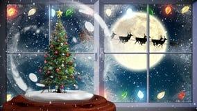 Animation mignonne de Noël d'arbre de Noël près de fenêtre la nuit illustration de vecteur