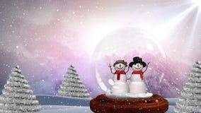 Animation mignonne de Noël des couples de bonhomme de neige dans la forêt magique illustration stock