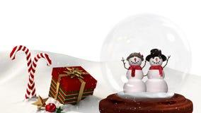Animation mignonne de Noël des couples de bonhomme de neige et du cadeau de Noël dans le paysage neigeux banque de vidéos