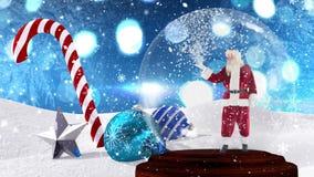 Animation mignonne de Noël du père noël en globe de neige banque de vidéos