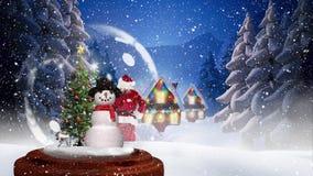 Animation mignonne de Noël de hutte et d'arbre de Noël lumineux banque de vidéos