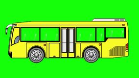 Animation of Mini  bus  on green screen. stock video footage