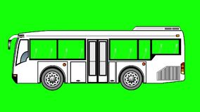 Animation of Mini  bus  on green screen. stock video