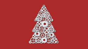 Animation modern concept christmas tree and mechanism gears rotation background. Invitation of xmas or happy new year