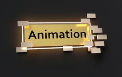 Animation modern golden sign. With golden cubes around and glowing neon light on the black wall , 3d rendered royalty free illustration