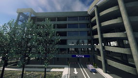 Animation of a modern parking lot stock video footage