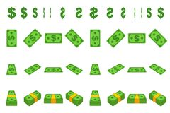 Animation money paper dollar step by step. Cartoon wad of cash in different positions isolated on separate layers. Flat. Design. Vector Game element vector illustration